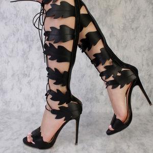 957f991ffe2 Shoes - Black Swirl Cut Out Detailing Peep Toe Gladiator S